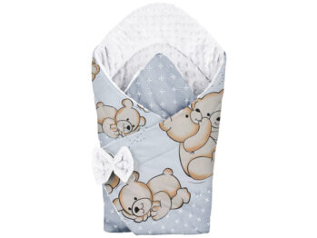 3in1 Baby Swaddle Wrap- white hug teddies