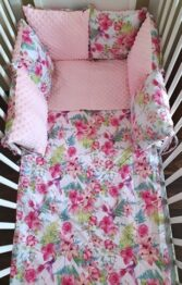 Minky & Cotton bedding set with pillow bumpers- pink paradise