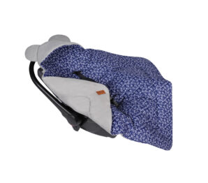 Car seat blanket/swaddle wrap- grey/navy flowers