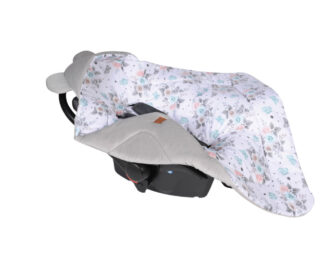 Car seat blanket/swaddle wrap- grey small roses