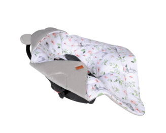 Car seat blanket/swaddle wrap- grey hippos