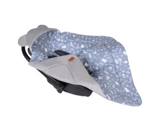 Car seat blanket/swaddle wrap- grey/navy forest