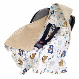 Car seat blanket- beige/navy teddy