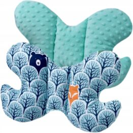 Butterfly pillow- mint foxes