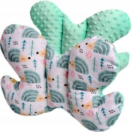 Butterfly pillow- mint hedgehogs
