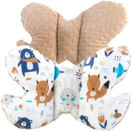 Butterfly pillow- beige/navy teddy