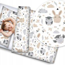 100% Cotton Bedding set- grey/beige teddies