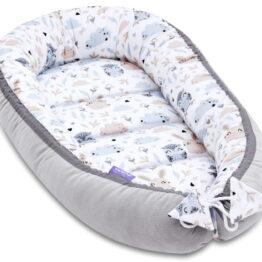 Baby Nest- velvet grey/beige teddies
