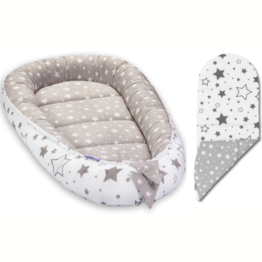 Baby Nest with insert- grey mix stars