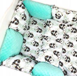 Premium Cotton bedding set with pillow bumpers- mint pandas