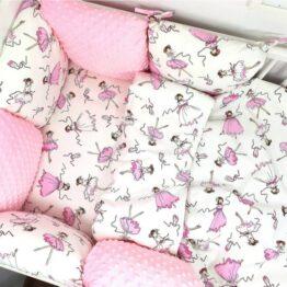 Premium Cotton bedding set with pillow bumpers- pink ballerina