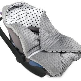Cosy car seat blanket- grey dots