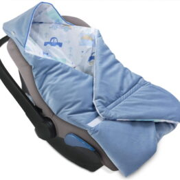 Cosy car seat blanket- velvet blue cars