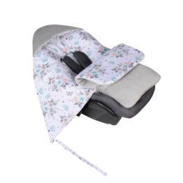 Car seat blanket/sleeping bag- grey/small roses