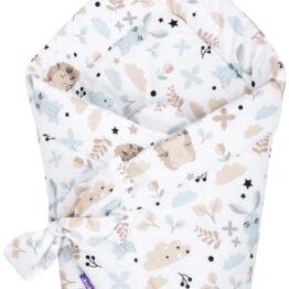 100% cotton Baby Swaddle Wrap- beige teddies