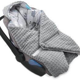 Cosy car seat blanket- grey zebras