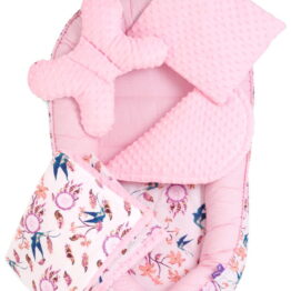 5-piece Comfort Minky Nest Set- pink dreamcatchers II