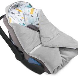 Cosy car seat blanket- grey magic town