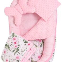 5-piece Comfort Minky Nest Set- pink garden