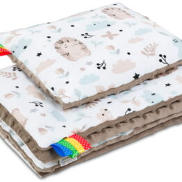 Minky blanket set-size 75x55cm/mokka teddies