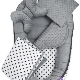 5-piece Comfort Minky Nest Set- grey dots