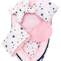 5-piece Comfort Minky Nest Set- pink stars