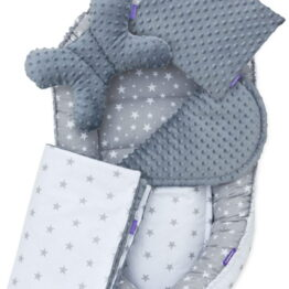 5-piece Comfort Minky Nest Set- grey stars