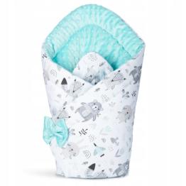 3in1 Baby Swaddle Wrap- mint teddies