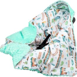 Warm Car seat blanket- mint trains